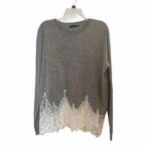 Black Tape Womens Gray V neck Sweater Lace Bottom